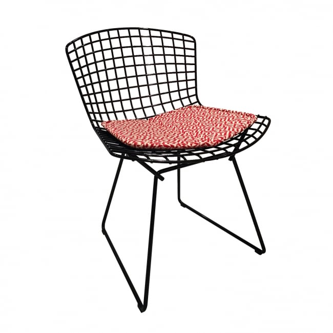 Bertoia Side Chair with seat pad Eclat Weave by Anni Albers